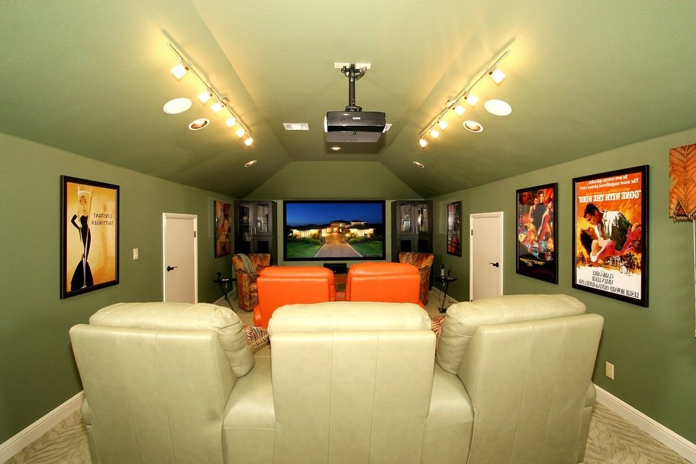 Morro Bay Theater   Eclectic Home Theater  and Carpet Green Paint Green Wall Seating Vaulted Ceiling
