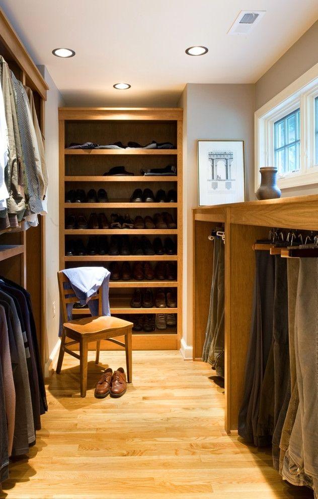 Pants Hangers in Bulk   Contemporary Closet  and Built in Organizers Custom Closet Gray Walls Pants Organizer Recessed Lighting Shoe Organizer Small Windows Wood Floor Wooden Chair