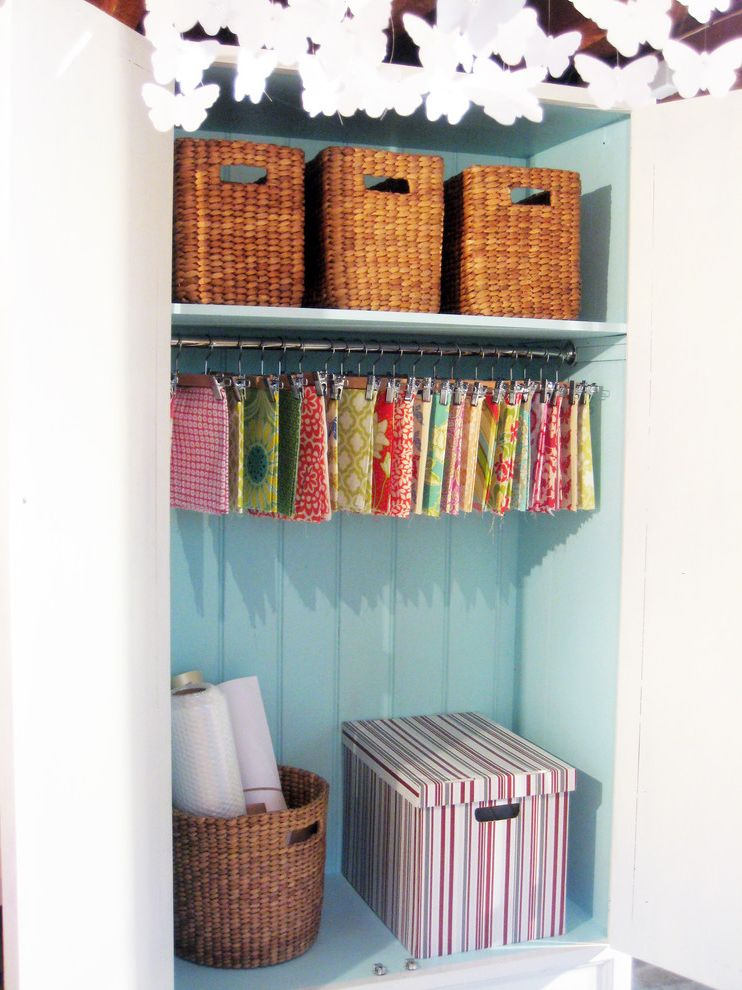 Pants Hangers in Bulk with Eclectic Home Office  and Armoire Beadboard Butterflies Craft Room Fabric Organization Rattan Baskets Storage Studio