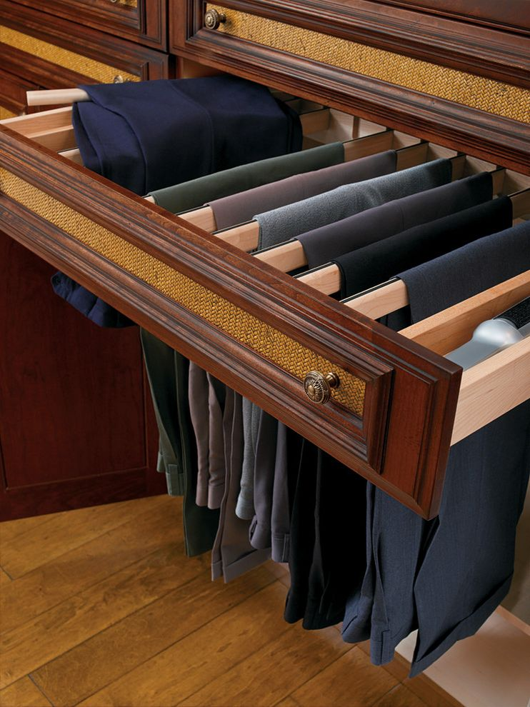 Pants Hangers in Bulk with Traditional Closet Also Cherry Cabinets Closets Custom Cabinets His and Her Master Closet Master Closet Packing Island Pant Rack Pullout Traditional Traditional Design Wood Cabinets Wood Floors Wood Mode