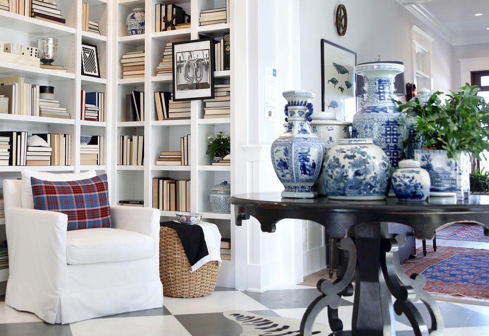 Pictures of Silverfish   Beach Style Entry Also Blue and White Pottery Blue White Ginger Jars Books Built in Bookcases Coastal Living Garden Stool Showhouse Signal Flag White Armchair