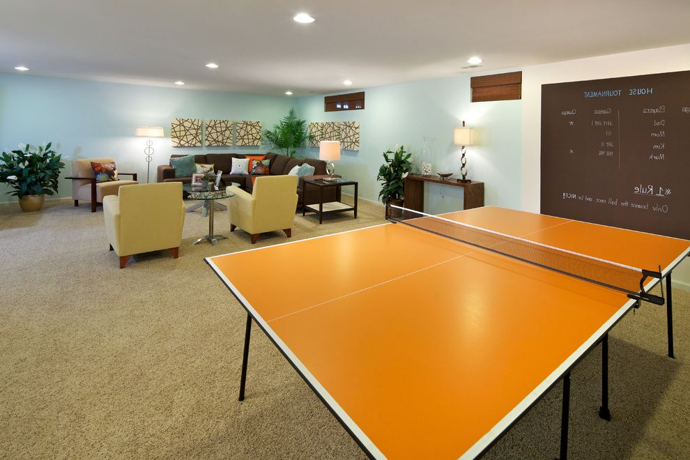 Ping Pong Tables   Contemporary Basement Also Artwork Basement Brown Carpeting Chalkboard Paint Game Room Light Blue Ping Pong Table Recessed Lights Roman Shades Seating Area