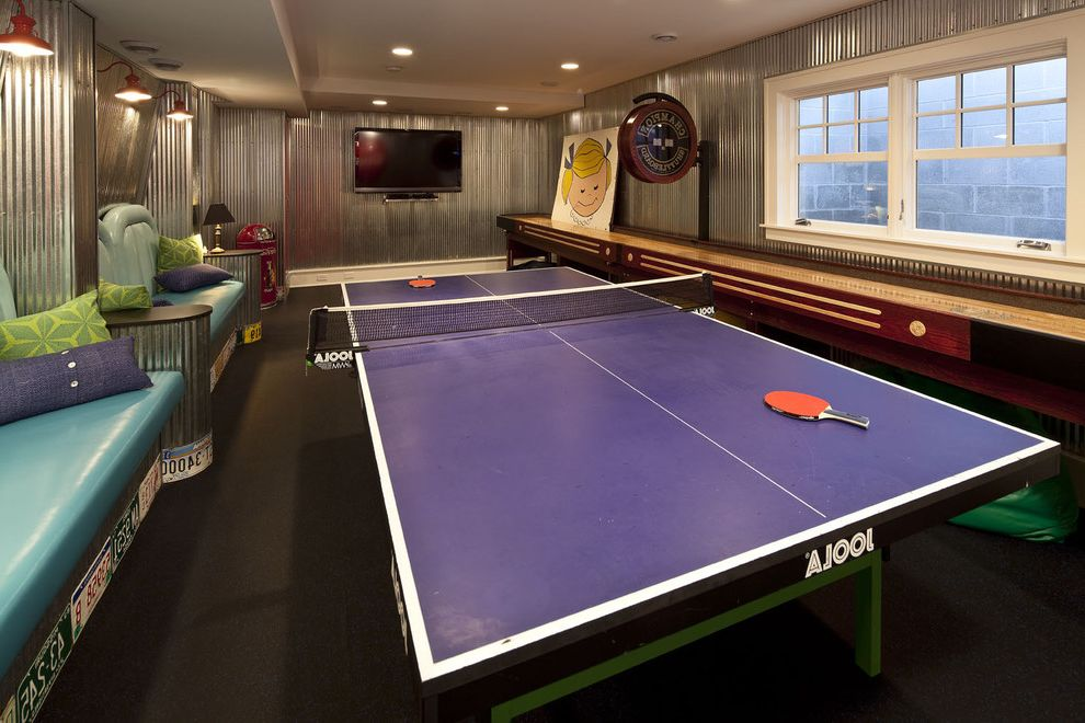 Ping Pong Tables   Traditional Family Room  and Built in Bench Seats Corrugated Metal Galvanized Metal Game Room License Plates Metal Paneling Ping Pong Shuffleboard Tv White Painted Trim