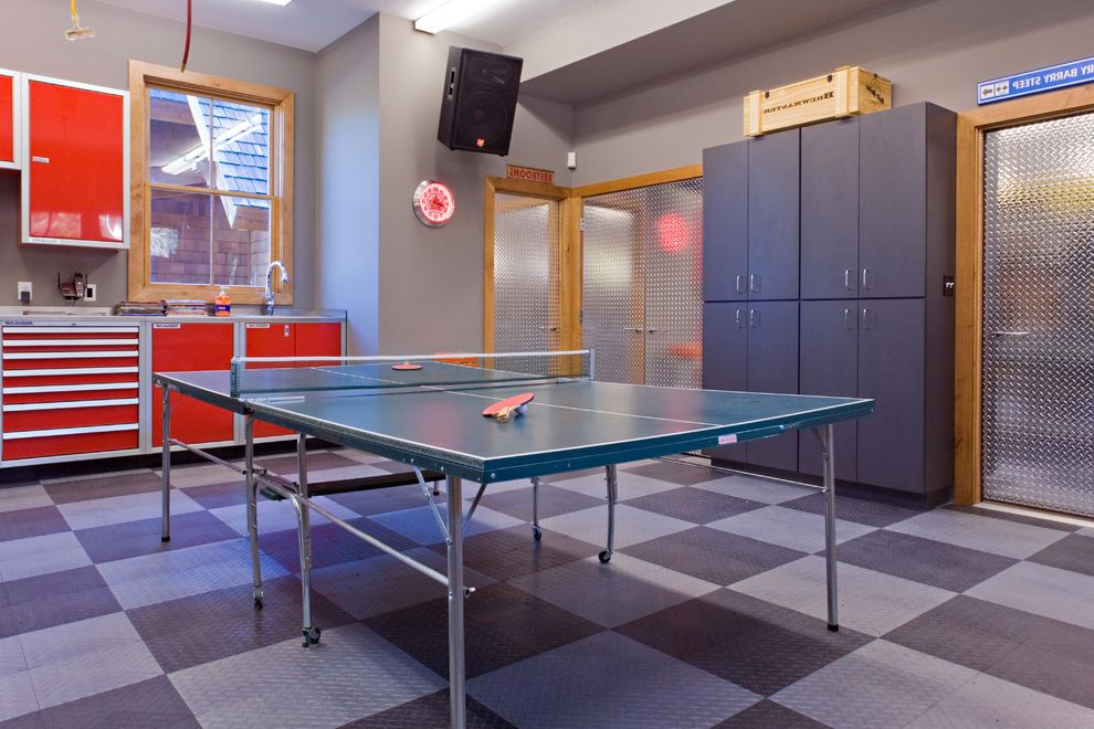 Ping Pong Tables with Traditional Family Room Also Basement Built in Storage Game Room Garage Harlequin Floor Pattern Metal Floor Metal Plate Ping Pong Table Rec Room Red Cabinets Table Tennis Tool Storage