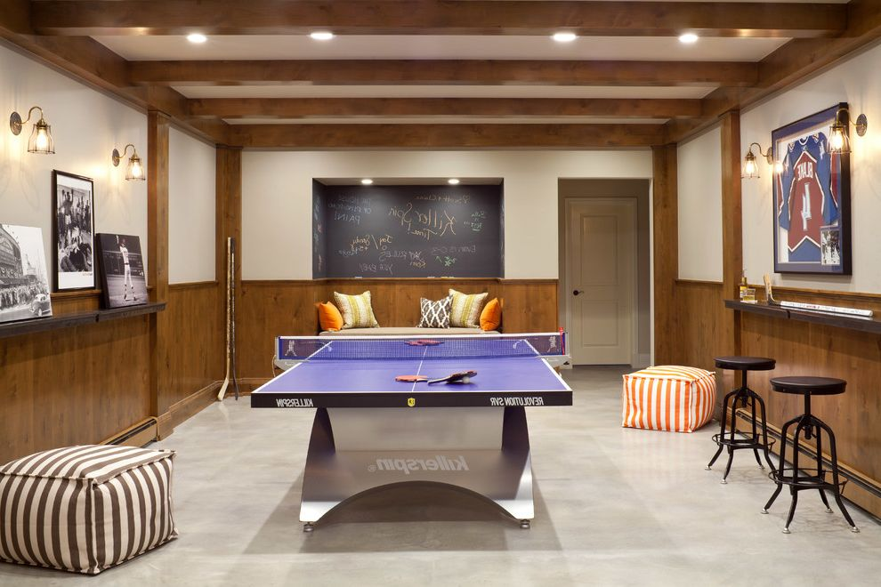 Ping Pong Tables with Transitional Basement  and Beams Built in Bench Chalkboard Paint Counter Stools Cube Game Room Killerspin Modern Mountain Ping Pong Recessed Lighting Wall Shelves