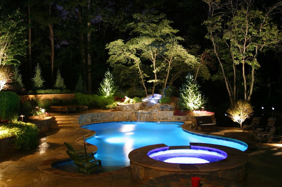 Pool Enclosure Lighting   Contemporary Pool Also Atlanta Outdoor Lighting Garden Lighting Hot Tub Landscape Lighting Patio Furniture Pool Lighting Spa Split Level Sun Shelf Waterfall