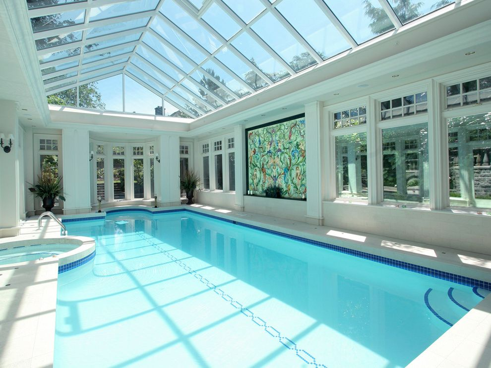 Pool Enclosure Lighting   Contemporary Pool Also Backyard Burnaby Entertainment Exercise Hot Tub Indoor Indoor Pool Pool Pool Tile Sconce Skylights Spa Sunroom Swimming Pool Wal Lighting Water