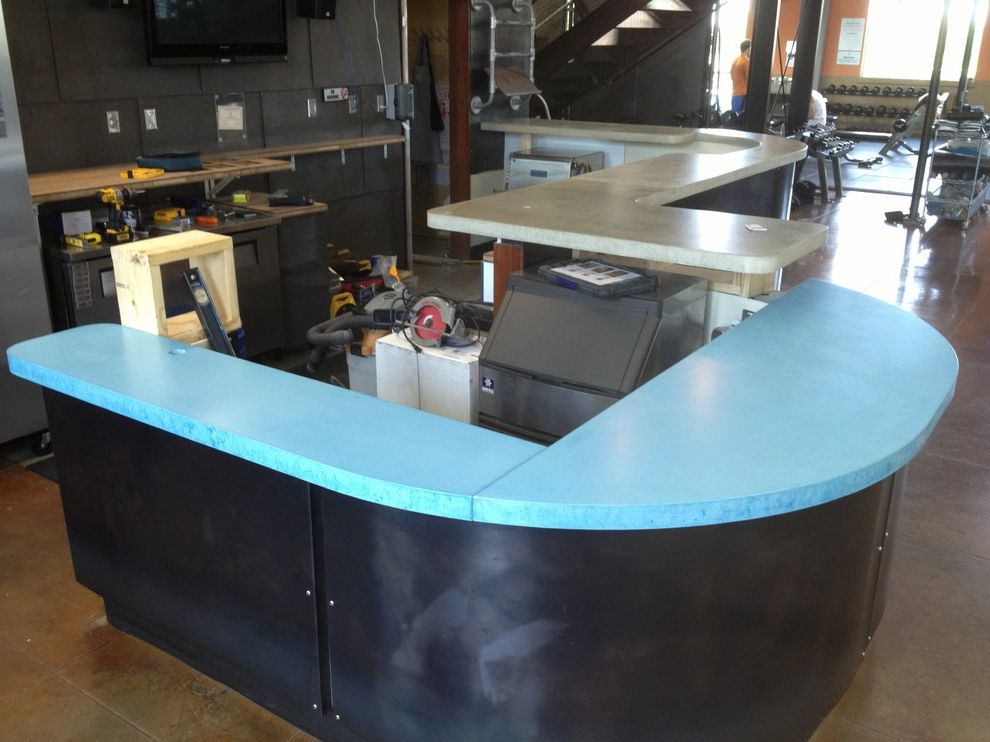 Pure Austin Fitness   Modern Kitchen  and Bar Commercial Concrete Countertop Eclectic Kitchen Modern Reclaimed Wood Steel
