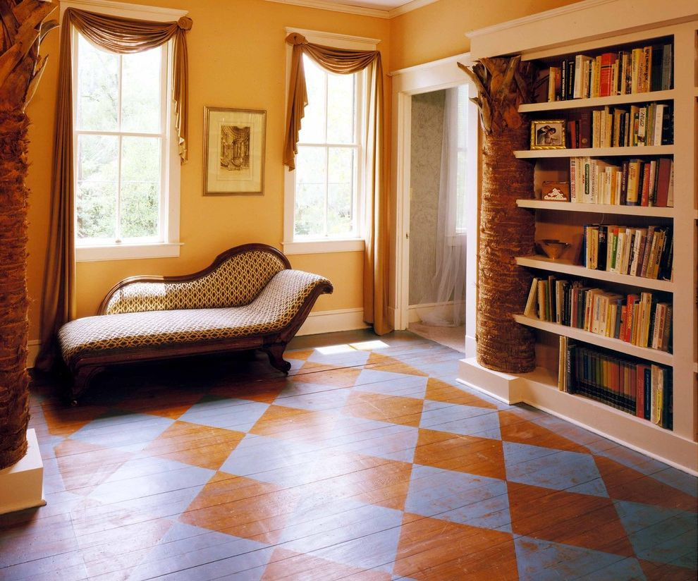 Really Cheap Floors   Eclectic Hall Also Bookcase Bookshelves Checkered Floor Columns Diamond Patterned Floor Fainting Couch Library Molding Painted Floor Tree White Trim Wood Floor Yellow Floor Yellow Wall