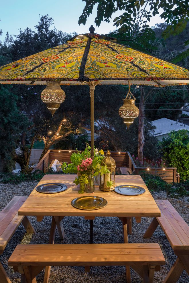 Rectangular Patio Umbrella with Solar Lights   Eclectic Patio Also Dining Bench Moroccan Lanterns Outdoor Dining Outdoor Lighting Paisley Umbrella Wood Table