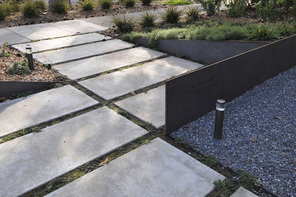Rectangular Pavers   Contemporary Landscape Also Concrete Paving Edging Garden Lighting Gravel Outdoor Lighting Path Pavers Planters Walkway