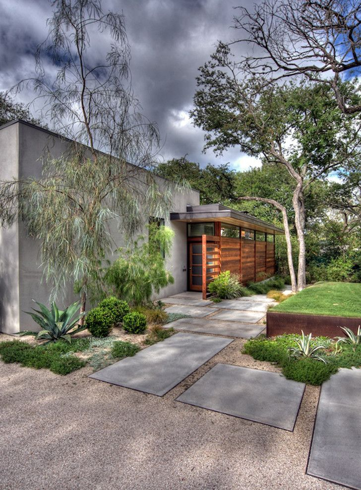Rectangular Pavers   Contemporary Landscape  and Concrete Desert Modern Entrance Entry Flat Roof Front Door Grass Gravel Lawn Pavers Steps Succulents Turf