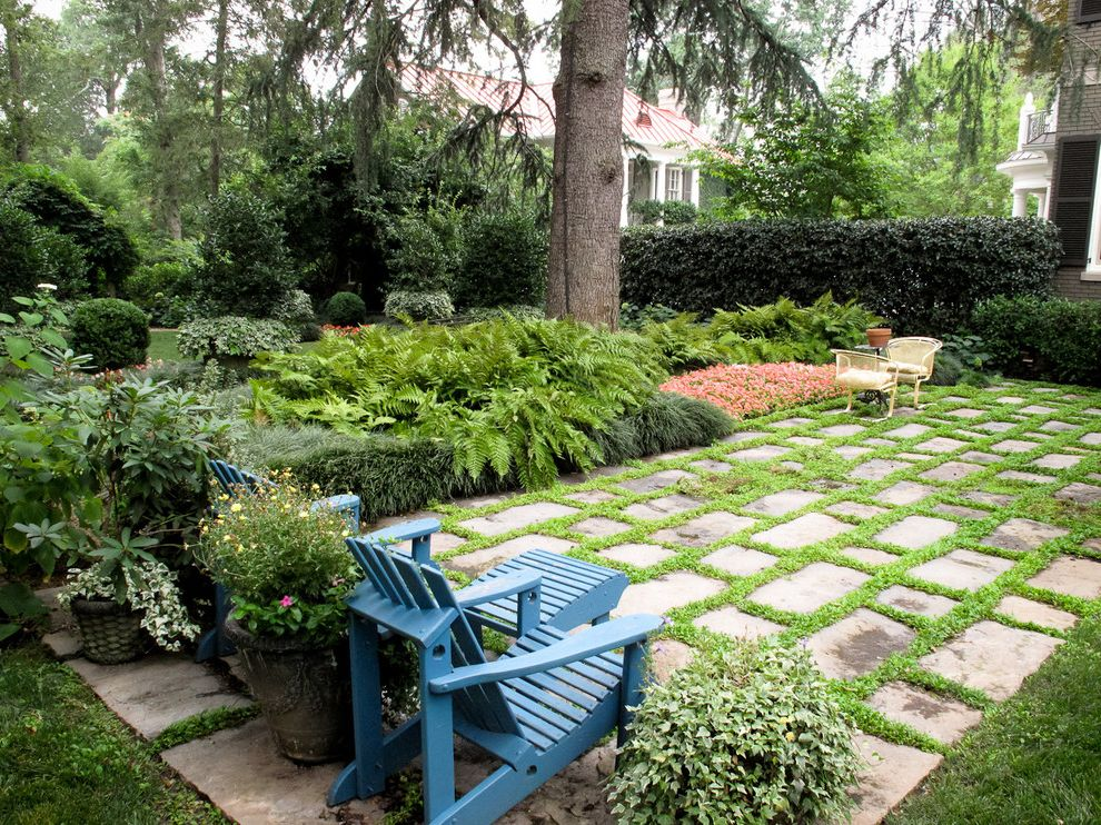 Rectangular Pavers   Traditional Landscape Also Blue Garden Chair Flower Bed Forest Grass Grout Mountains Patio Pavers Stone
