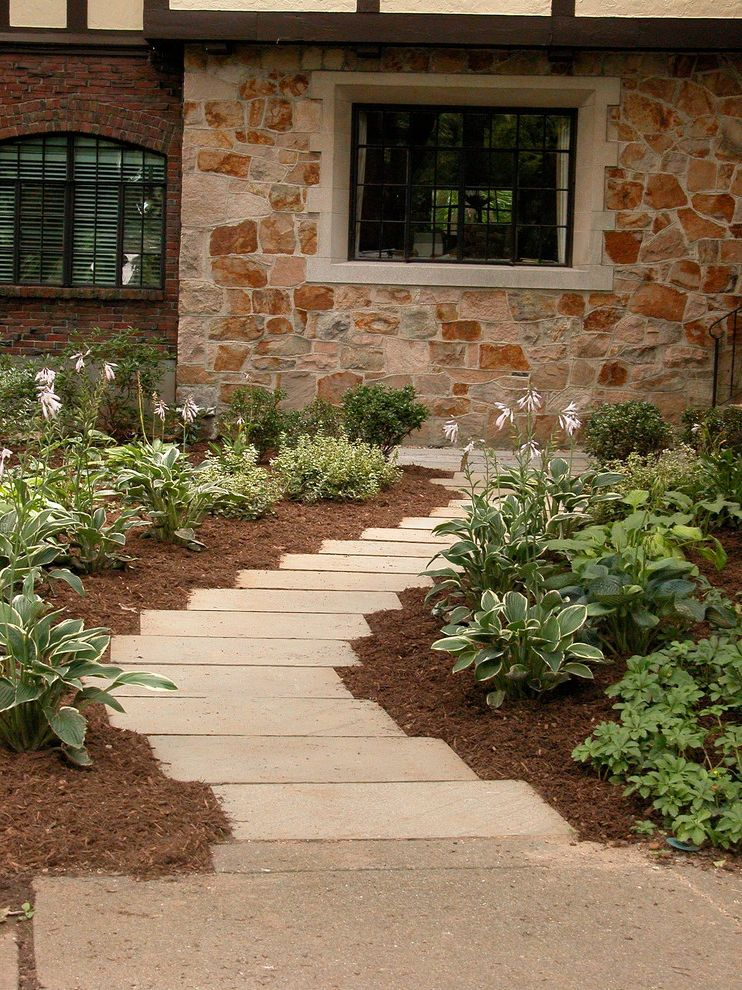 Rectangular Pavers with Contemporary Landscape Also Architect Boston Brown Curve Designer Door Front Front Yard Green Hosta House Landscape Mulch Offset Path Shade Plants Sirius Stone Stone Wall Tan Window