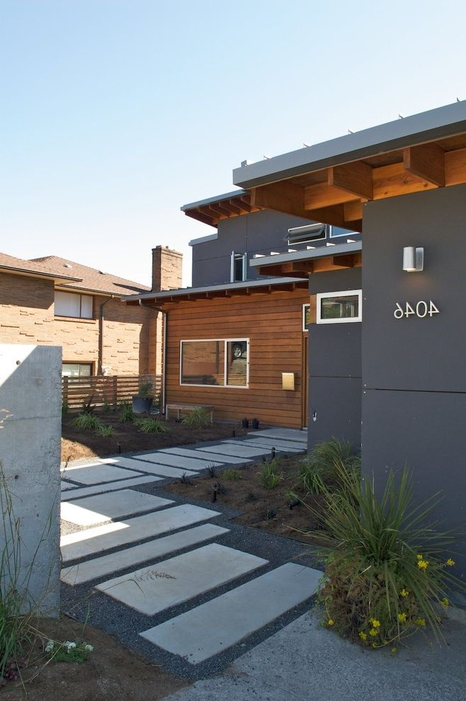 Rectangular Pavers with Contemporary Landscape  and Concrete Pavers House Numbers Stone Pavers Wood Siding