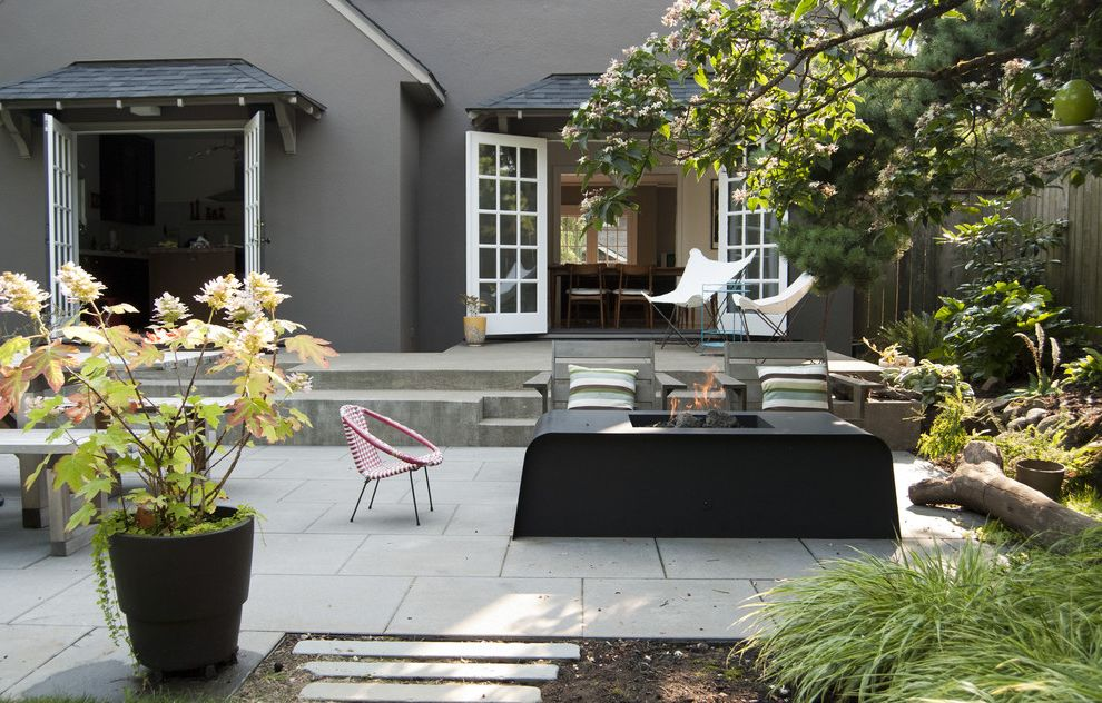 Rectangular Pavers with Contemporary Patio Also Adirondack Chairs Butterfly Chair Concrete Concrete Pavers Fire Pit French Doors Gray Potted Plant Steps
