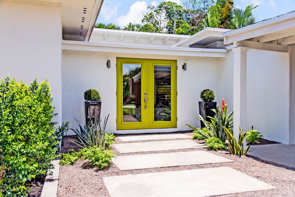 Rectangular Pavers with Modern Entry Also Front Door Gravel Large Black Planters Lime Door Porch Overhang Rafters Rectangular Pavers Topiary Wall Sconces White Post