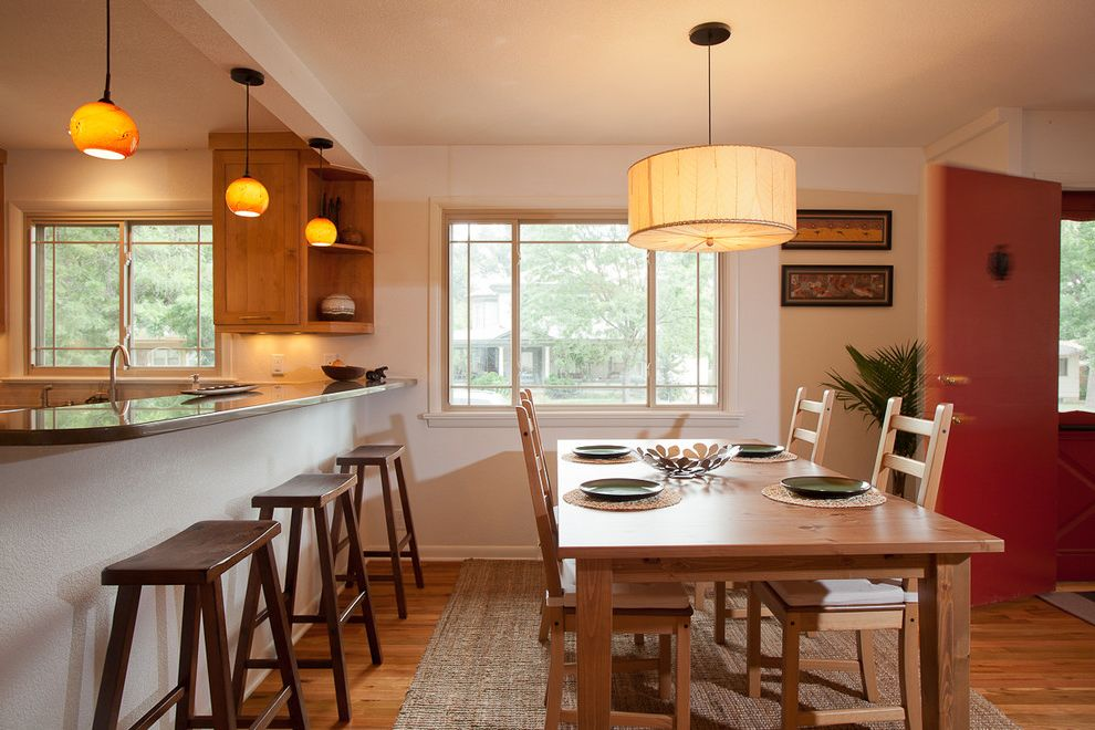 Remodelers Mart with Contemporary Kitchen  and Area Rug Breakfast Bar Drum Pendant Eat in Kitchen Farmhouse Table Island Lighting Kitchen Peninsula Kitchen Table Pendant Lighting Rustic Wood Barstools Table Setting Wood Dining Table Wood Flooring