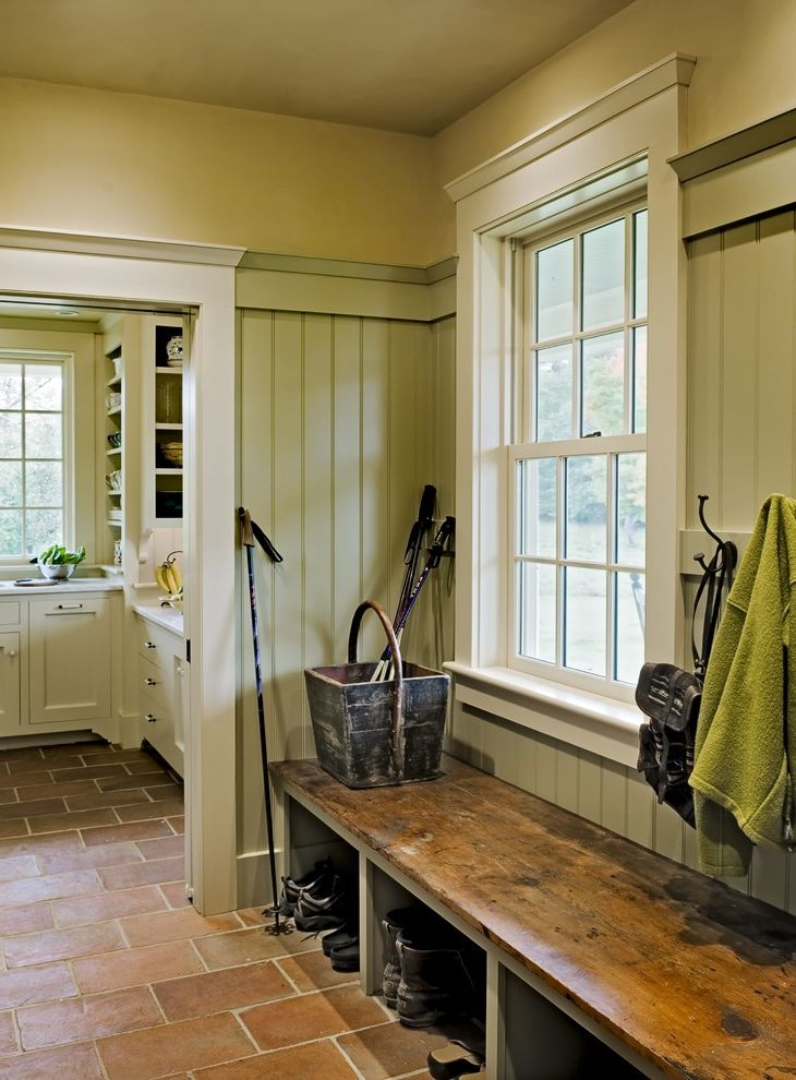 Restore Newington Nh   Traditional Entry  and Country Door Casing Entry Bench Mudroom Shoe Storage Storage Cubbies Terra Cotta Tile Floors Wainscoting White Trim Window Casing
