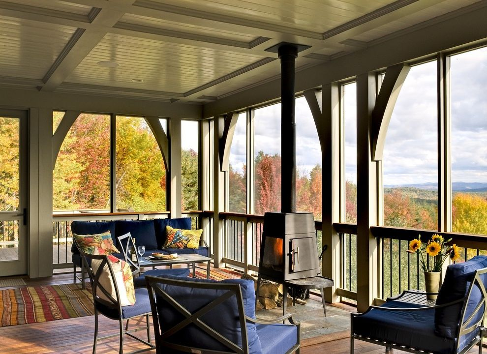 Restore Newington Nh   Traditional Porch Also Deck Outdoor Cushions Patio Furniture Screened Porch Wood Ceiling Wood Burning Stove