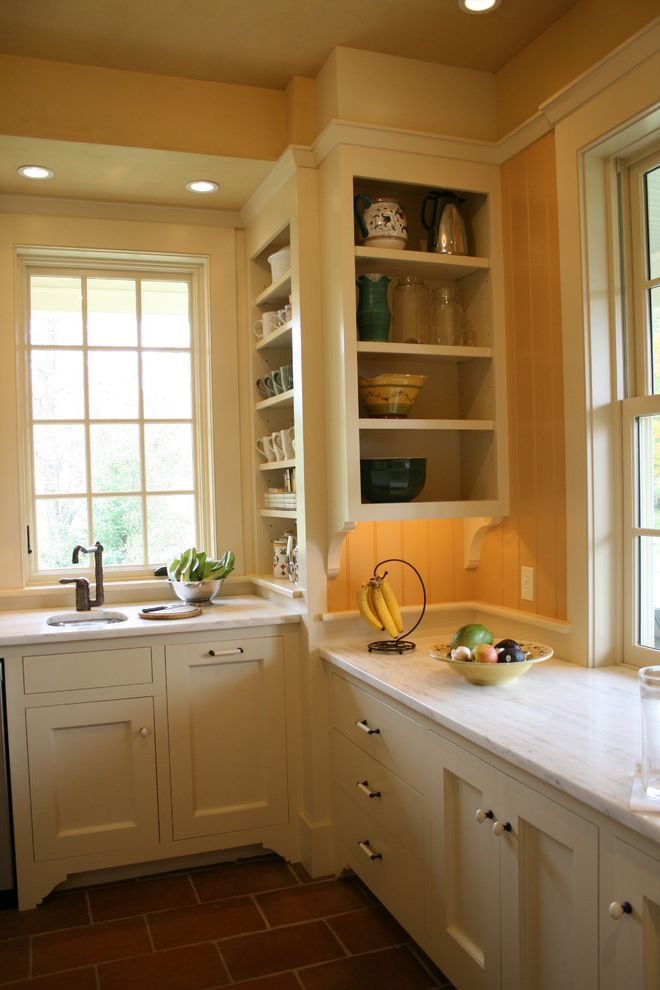 Restore Newington Nh with Traditional Kitchen  and Brick Flooring Kitchen Hardware Kitchen Shelves Marble Countertops Pantry Under Cabinet Lighting White Cabinets White Kitchen White Wood Wood Cabinets Wood Trim