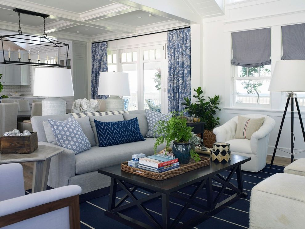 R&r Tires with Beach Style Living Room Also Beach Home Beach House Beachfront Blue and White Blue Curtains Blue Pillows Blue Roman Shade Circa Lighting Coastal Living Coffered Ceiling Coronado Island Family Room Gray Couch Lee Industries Ocean View