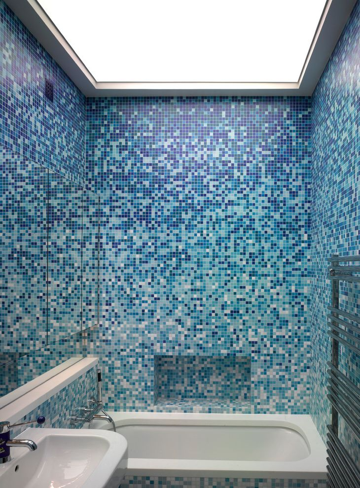 R&r Tires with Contemporary Bathroom  and Bathroom Tile Bathtub Blue Colour Scheme Heated Towel Bar Large Mirrored Cabinet Mosaic Tile Niche Small Bathroom Design Small Bathrooms Tile Tub Surround Tile Wall Tile Walls Tiled Bathroom Tub White Sink