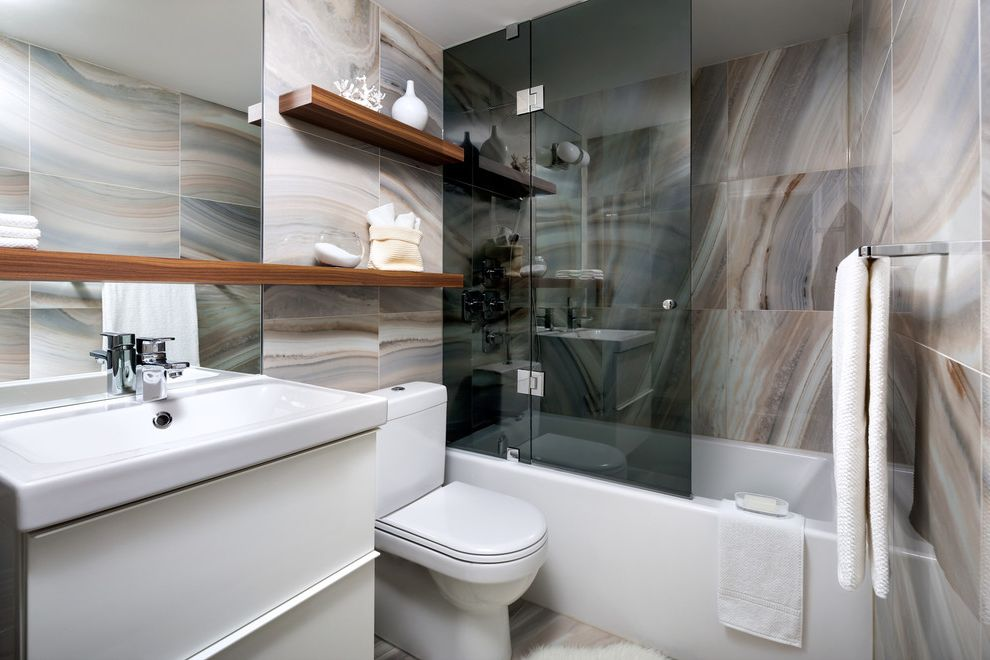 Runnings Dickinson Nd   Contemporary Bathroom  and Bath Bathtubs Clean Grey Glass Interior Wall Tile Modern Open Shelves Oversized Mirror Shower Doors Smoked Glass Spa Tile Pattern Transitional Wood Shelf