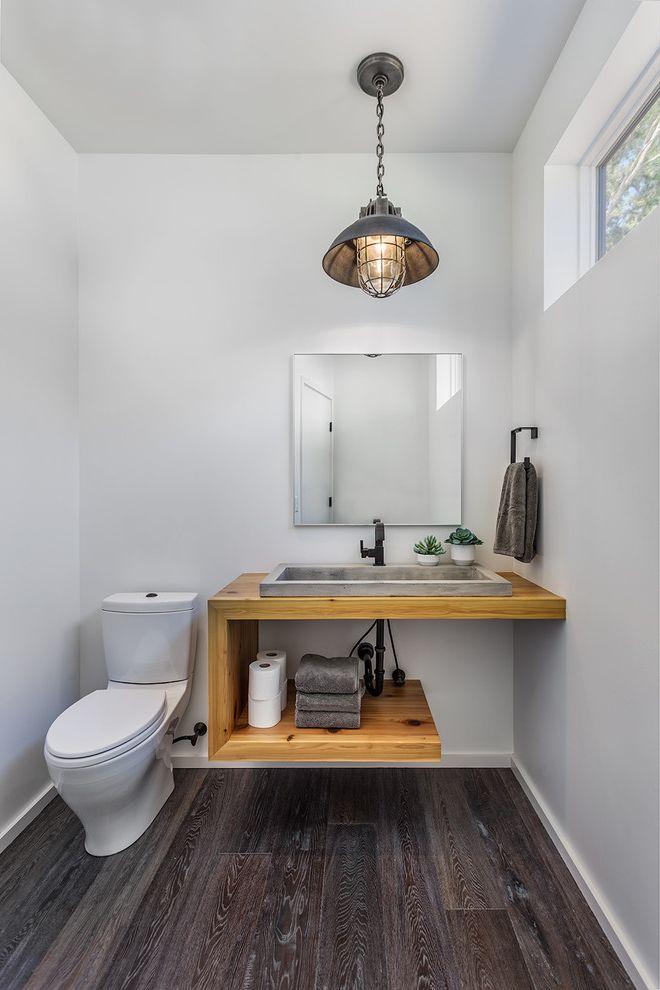 Sherwin Williams Flooring   Rustic Powder Room Also Cedar House Plants Industrial Pendant Light Modern Cabin Powder Room Window Towel Ring Towels Vanity Wall Mirror