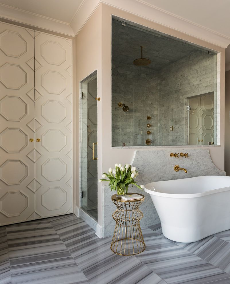 Sherwin Williams Flooring   Transitional Bathroom Also Apartment Bold Brass Bright Chic City Herringbone Floor Tile Lacquer Natural Light Penthouse Urban Wire Stool