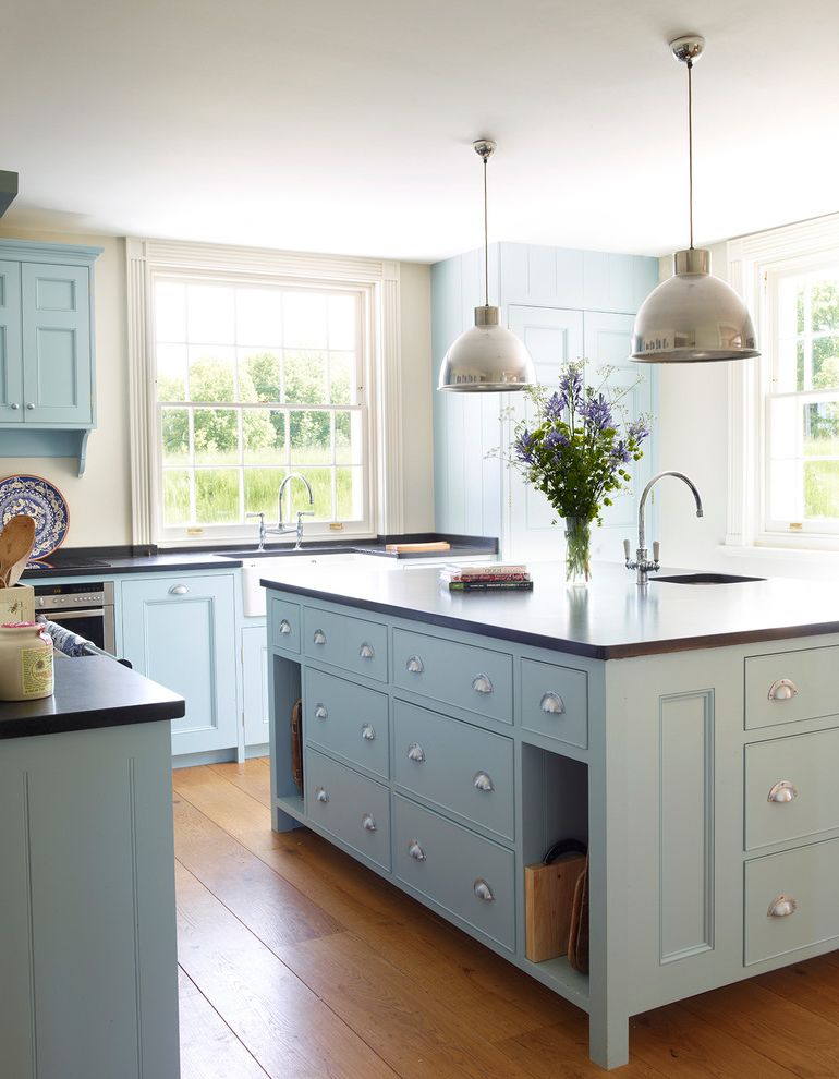 Sherwin Williams Flooring with Traditional Kitchen  and Blue Cabinets Blue Kitchen Blue Kitchen Cabinets Chrome Pendants Drawer Pulls Industrial Pendants Light Blue Light Blue Cabinet Traditional Window