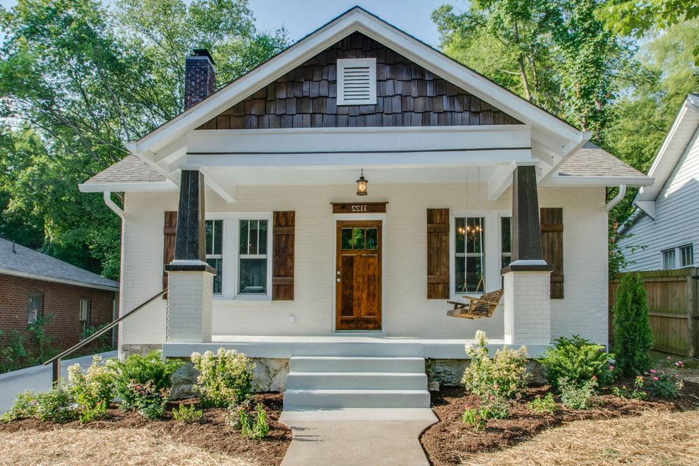 Sherwin Williams Nashville Tn with Craftsman Exterior  and Elephant Leg Colums Gable Roof Portico Square Columns Swinging Chair Whitewashed Brick