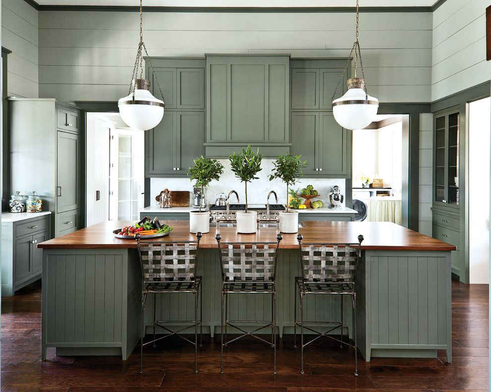 Sherwin Williams Nashville Tn with Farmhouse Kitchen Also Cottage Charm Globe Pendant Light Green Kitchen Kitchen Chairs Metal Stools Modern Farmhouse Nashville Pendant Lighting Shiplap Siding Shutters Southern Style Wood Countertops Wood Floors