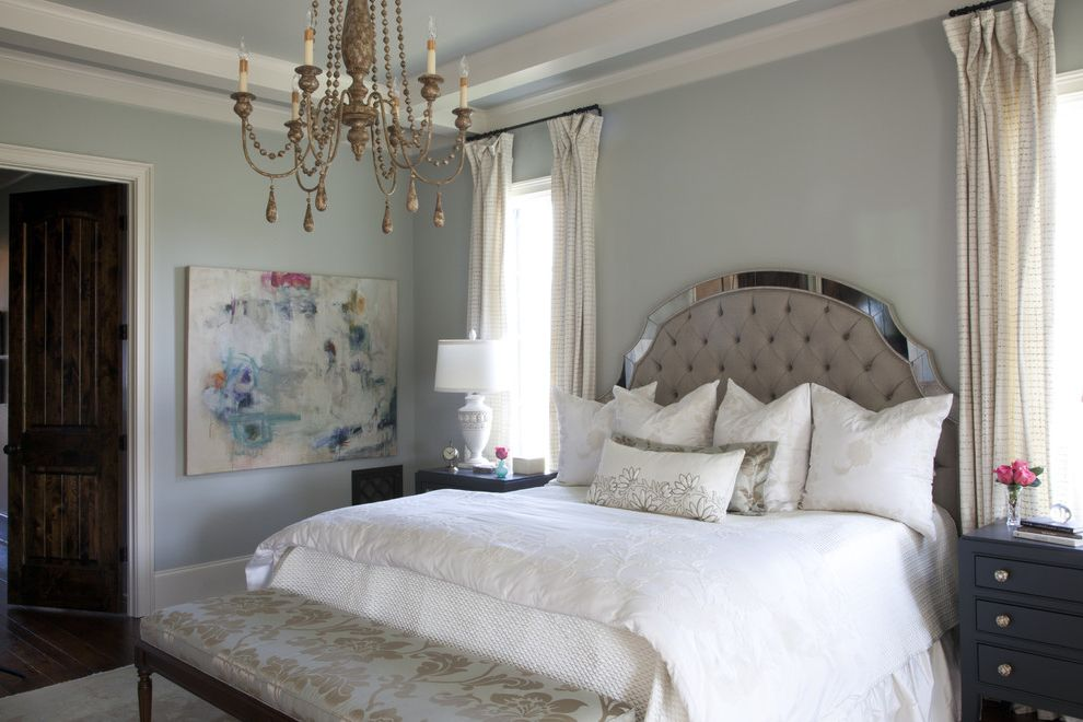 Sherwin Williams Nashville Tn with Traditional Bedroom Also Abstract Art Chandelier Contemporary Artwork Light Blue Walls Nightstands Textured Bedding Upholstered Bench Upholstered Headboard Window Treatment
