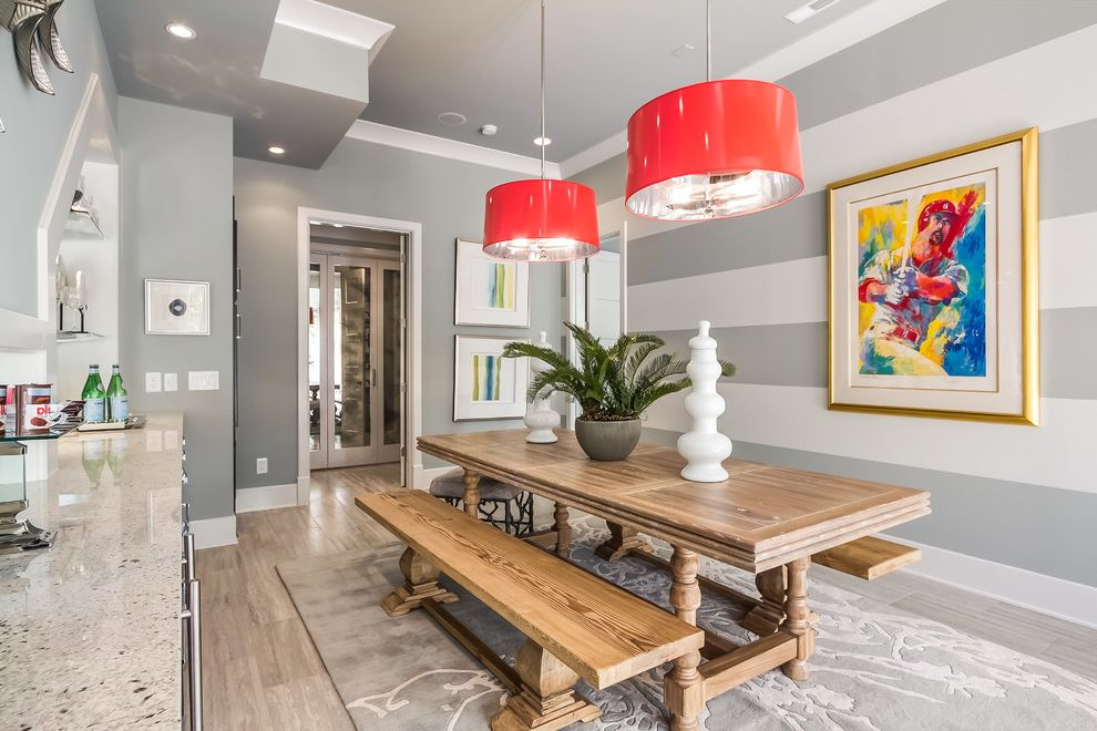 Sherwin Williams Nashville Tn with Transitional Basement  and Art Basement Basement Bar Buildout Dining Table and Bench Farm Table Horizontal Stripes Painted Stripes Pendant Chandelier Red Tile Pattern