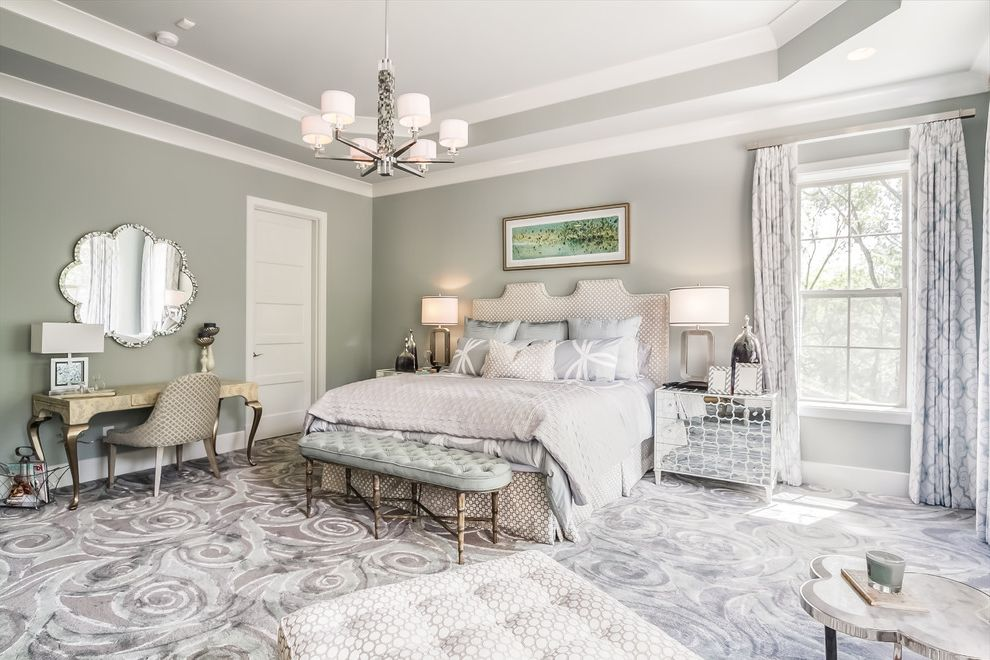 Sherwin Williams Nashville Tn with Transitional Bedroom  and Basement Bench Seating Buildout Chaise Lounge Gray Gray Rug Gray Walls Grey Guest Bedroom Guest Room Patterned Carpet Pendant Chandelier Upholstered Headboard Writing Table