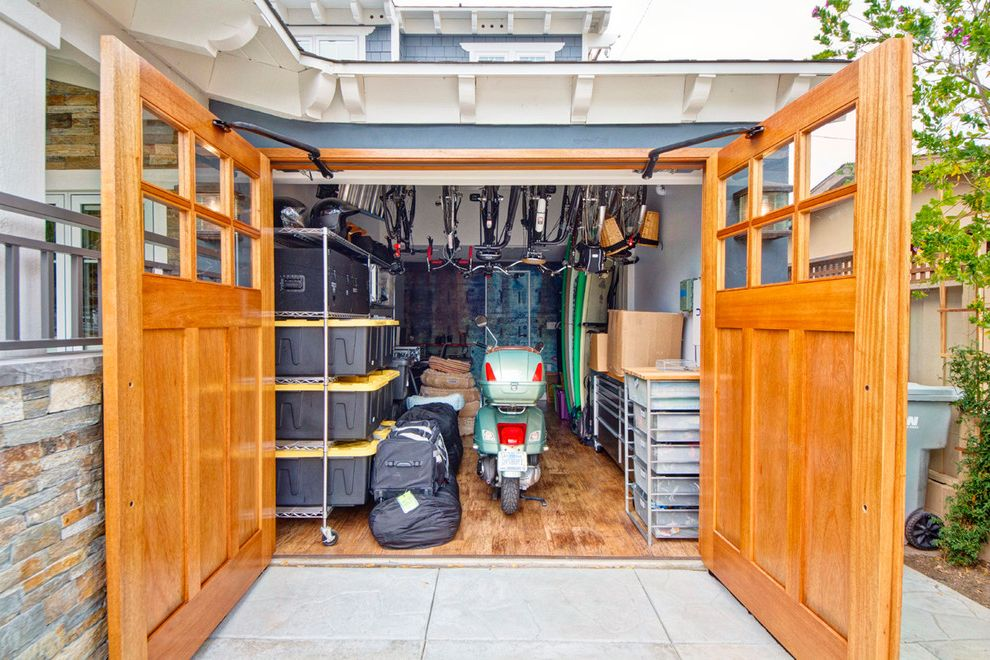 Shipping Container Storage Shed with Contemporary Garage Also Bike Rake Carriage Door Garage Door Carriage Doors Garage Storage Garage Storage Bins Gray Exterior Gray Siding Hanging Bike Rack Moped Stone Exterior Stone Siding