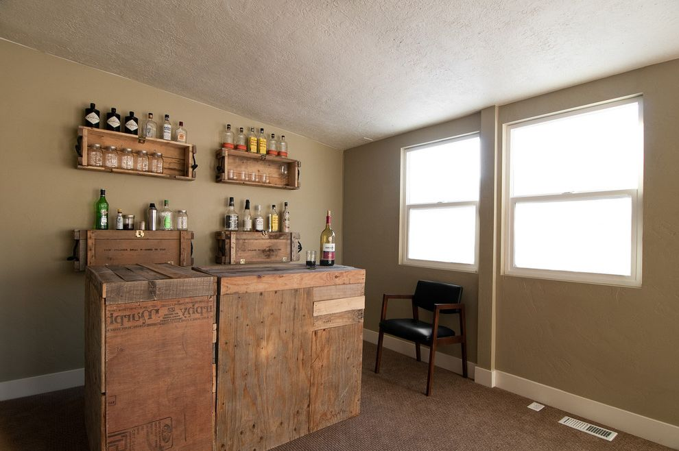 Shipping Crate Homes   Eclectic Wine Cellar Also Alcohol Alcohol Bottles Beige Wall Carpet Home Bar Homemade Bar Leather Side Chair Reclaimed Wood Recycled Wood Bar Slanted Ceiling Wine Crate Bar Wine Crate Shelves Wine Crates