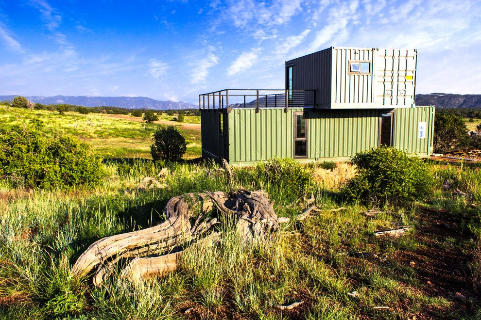 Shipping Crate Homes   Industrial Exterior Also Compact Construction Dwelling Metal Mountain Remote Residence Roof Deck Rustic Shipping Container Small Steel