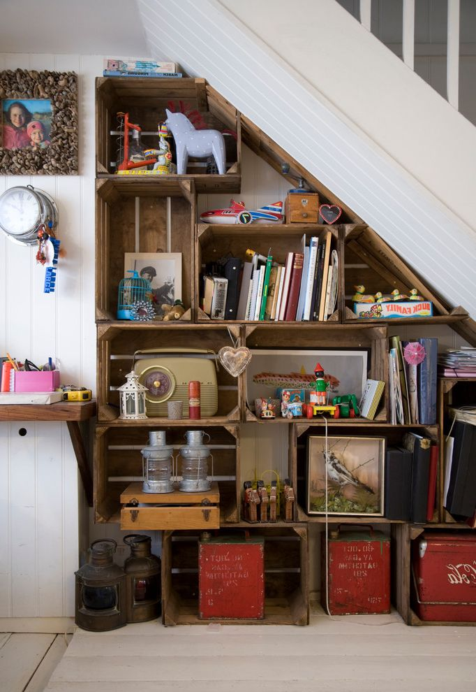 Shipping Crate Homes   Shabby Chic Style Hall  and Custom Shelving English Cottage Fun Lanterns Library Old Boxes Rustic Shabby Chic Storage Storage Boxes Under Stair Storage Under Staircase Under Stairs Under Stairs Storage Under the Stairs Unicorn Wood