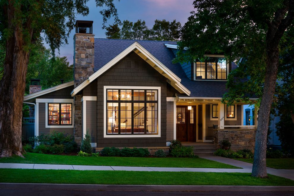 Shipping Crate Homes   Traditional Exterior Also Craftsman Style Curb Appeal Dormers Exterior Foundation Planting Front Door Front Porch Grass Lawn Shingle Siding Sidewalk Stone Stone Chimney Traditional Design Turf White Trim