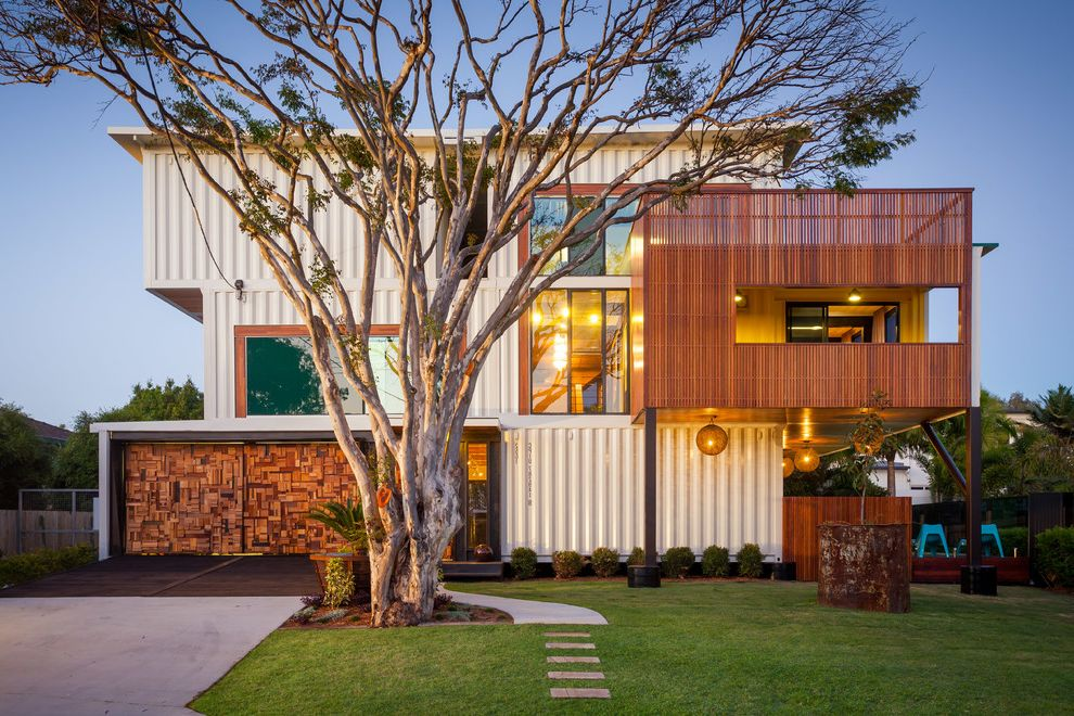 Shipping Crate Homes with Contemporary Exterior Also Contemporary Home Curb Appeal Eclectic Garage Doors Shipping Containers Unique Design White Metal Siding