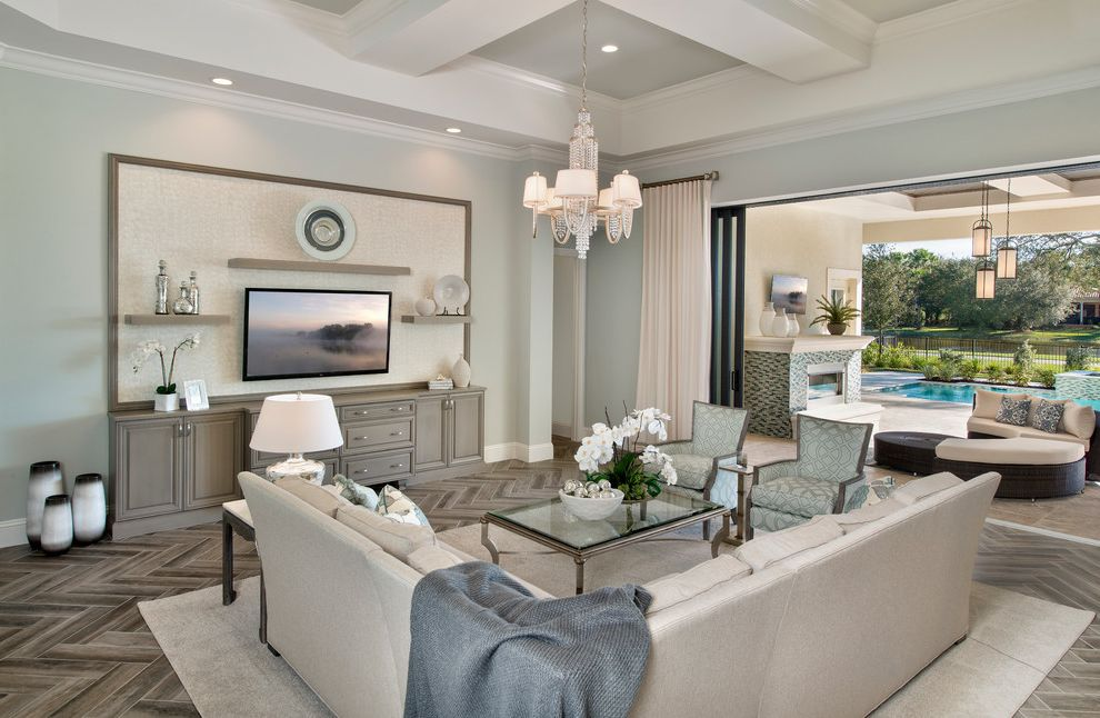 Silverspot Movies Naples Fl with Transitional Family Room  and Area Rug Casual Elegance Chandelier Coffered Ceiling Comfortable Elegance Indoor Outdoor Neutral Open Shelves Patio Pool Sofa Soothing Color Palettes Sophisticated