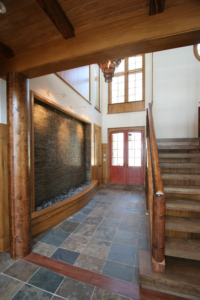 Spa at Falling Waters with Contemporary Entry  and Balcony Beams Foyer Lake Home Metal Railing Stair Stone Stone Floor Timber Two Story Living Space Water Element Water Fall Water Feature Wood Ceiling Wood Flooring Wood Wainscot