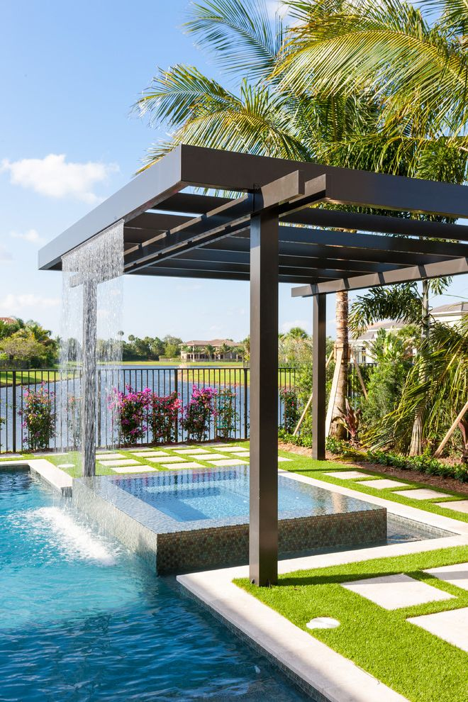 Spa at Falling Waters with Contemporary Pool  and Aluminum Pergola Aluminum Trellis Coastal Metal Products Coastal Screen Pergola Rain Arc Rain Feature Raised Hot Tub Trellis Water Feature Waterfall