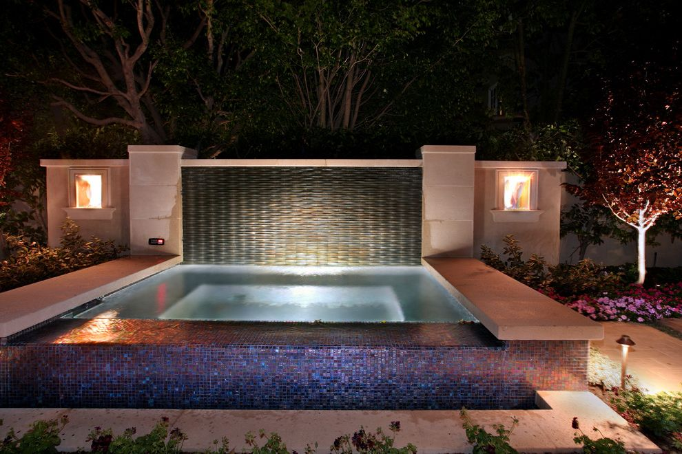 Spa at Falling Waters with Mediterranean Pool Also Blue Tile Disappearing Edge Pool Geometric Geometry Glass Tile Hot Tub Infinity Pool Jacuzzi Outdoor Lighting Planter Seat Wall Spa Wall Lighting Wall Tile Zero Edge Pool