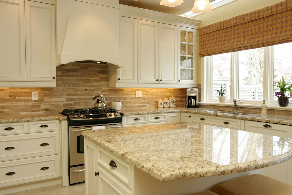 St Cecilia Granite Countertops with Traditional Kitchen Also Cream Granite Granite Countertops Hardware Hood Ivory Range Stone Tiles Stove Tile Backsplash White Cabinets Window Treatment