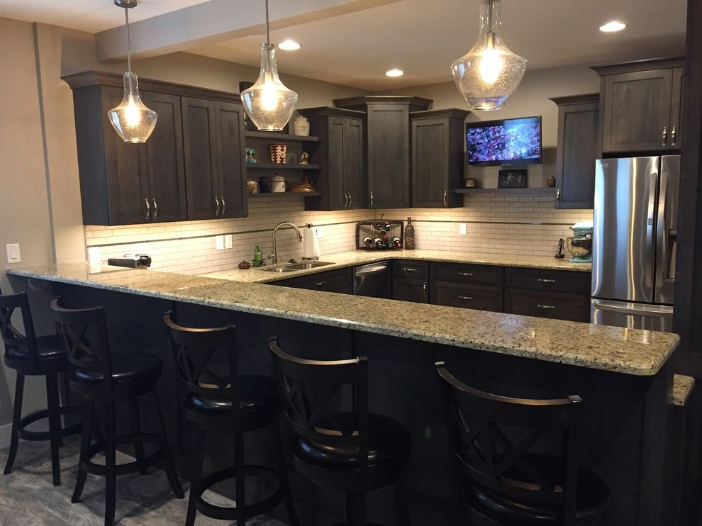 St Cecilia Granite Countertops with Transitional Basement  and Basement Bar Basement Finish Custom Cabinets Granite Counter Tops Tile Backsplash