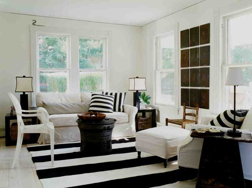 Standard Rug Sizes with Shabby Chic Style Living Room  and Area Rug Art Black White Black Coffee Table Black Table Lamp Black White Living Room Louis Chair Molding Round Coffee Table Side Table Slipcover Stripes Window Trim
