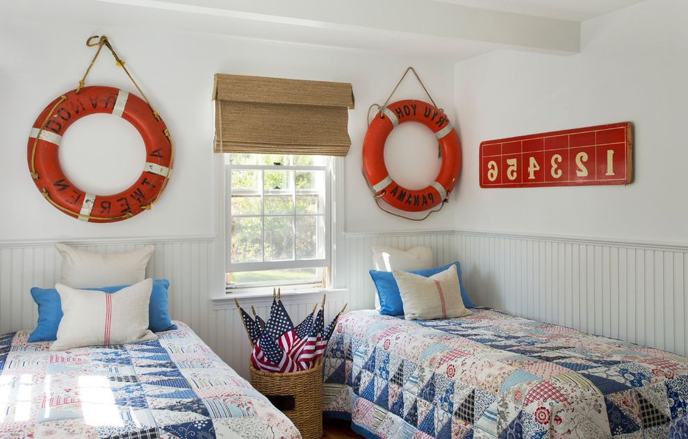 Standard Twin Mattress Size with Beach Style Bedroom Also American Flags Bamboo Shades Beadboard Wainscoting Life Preservers Nautical Decor Quilts Ring Buoys Twin Beds Two Twin Beds
